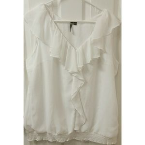 👕 White Milano Ruffled  Blouse 👕